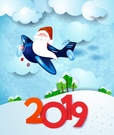 Santa on the airplane by day with text, on snowy background. Vector illustration eps10 Vecteurs