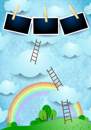 Surreal landscape with clouds, ladders and photo frames. Vector illustration eps10