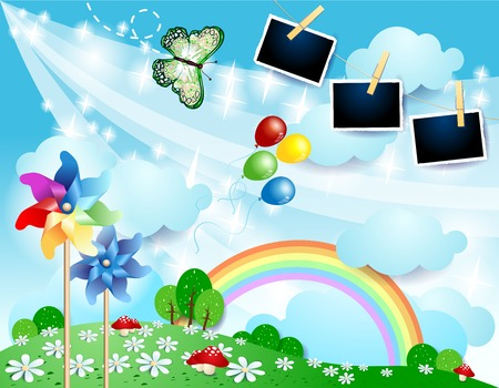 Spring landscape with butterfly, pinwheels and photo frames. Vector illustration eps10
