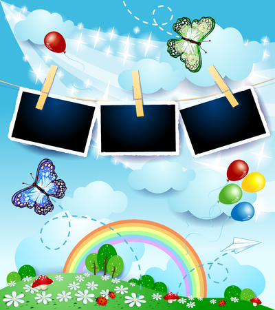 Spring landscape with butterflies and photo frames. Vector illustration eps10 Stock Illustratie