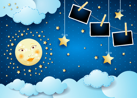 Surreal night with full moon, hanging stars and photo frames. Vector illustration eps10 Illusztráció