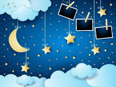 Surreal night with moon, hanging stars and photo frames. Vector illustration eps10 Illusztráció