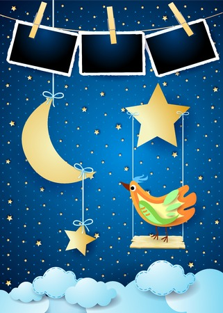 Magical night with swing, moon, bird and photo frames. vector illustration eps10 Banco de Imagens - 111099108