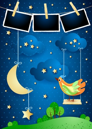 Surreal night with hanging moon, swing, bird and photo frames. Vector illustration eps10 Illustration