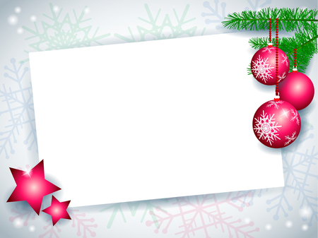 Christmas card with baubles and stars on snowflakes background. Vector illustration eps10 Иллюстрация