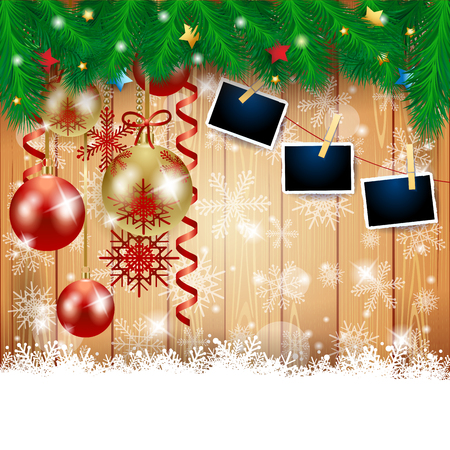 Christmas background with baubles and photo frames. Vector illustration eps10 Stock Illustratie