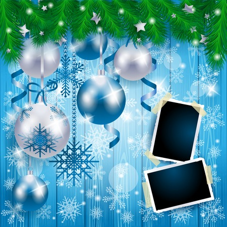 Christmas baubles and photo frames on wooden background, in blue. Vector illustration eps10