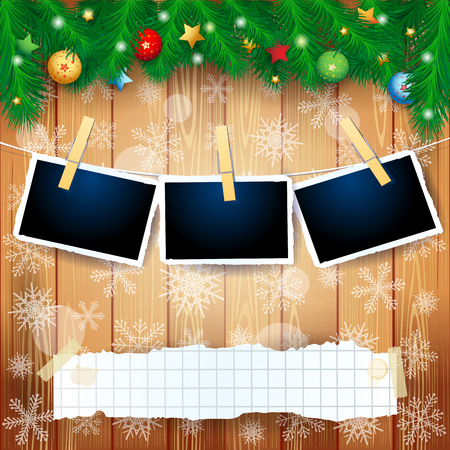 Christmas background with fir, copy space and photo frames. Vector illustration eps10