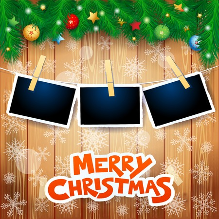 Christmas background with fir, photo frames and text. Vector illustration eps10 일러스트