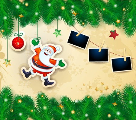 Christmas background with happy Santa, branches and photo frames. Vector illustration eps10