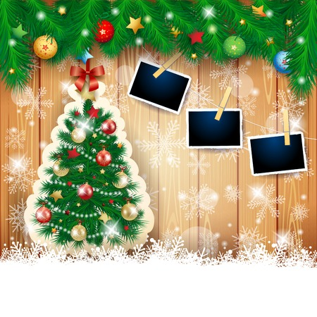 Christmas background with fir, tree and photo frames. Vector illustration eps10