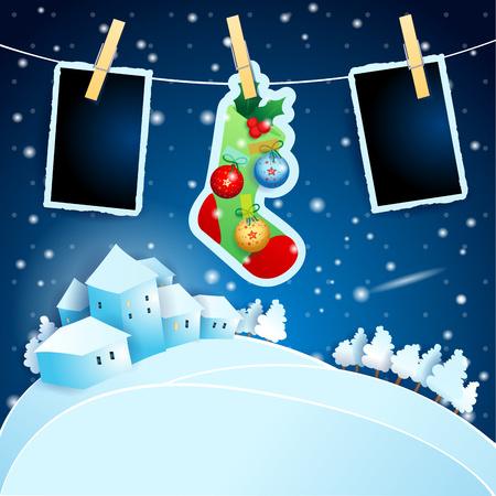 Christmas Eve with sock, landscape and photo frames. Vector illustration eps10