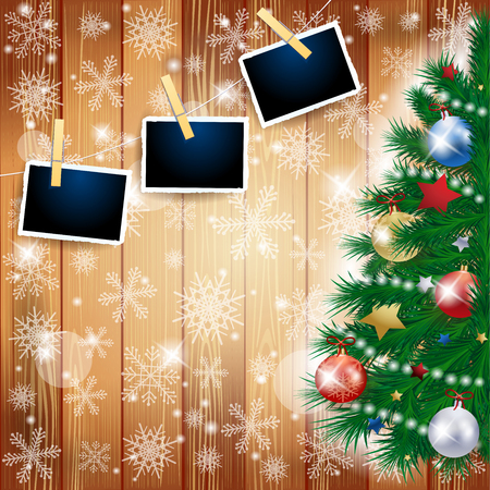 Christmas illustration with tree and photoframes on wooden background. Vector eps10