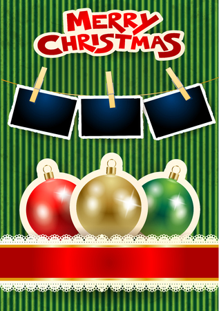 Christmas balls, photo frames and text on cardboard background. Vector illustration eps10