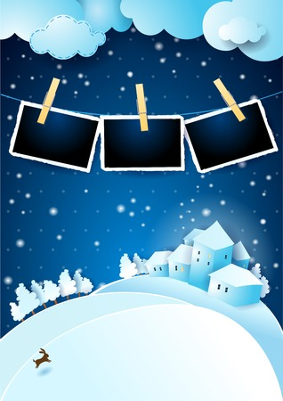 Christmas eve with landscape and photo frames. Vector illustration eps10
