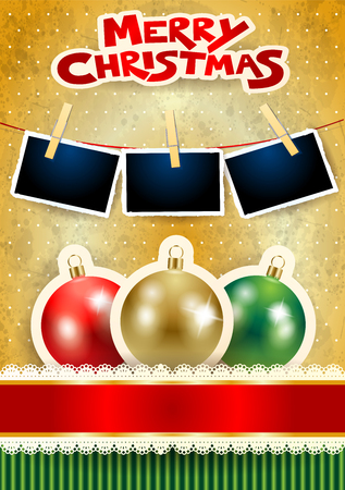 Christmas balls, photo frames and text on paper background. Vector illustration eps10