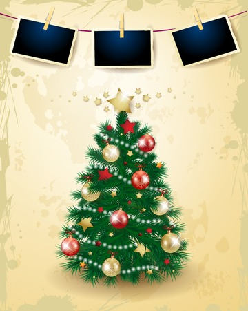 Christmas tree with baubles and photo frame on vintage background. Vector illustration eps10