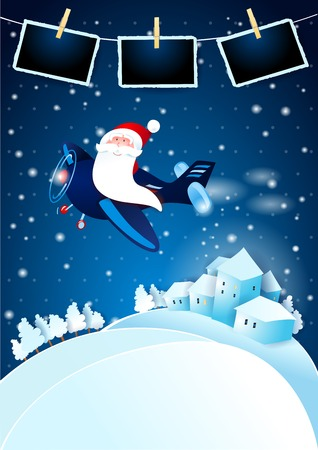 Christmas Eve with happy Santa on airplane and photo frames. Vector illustration eps10