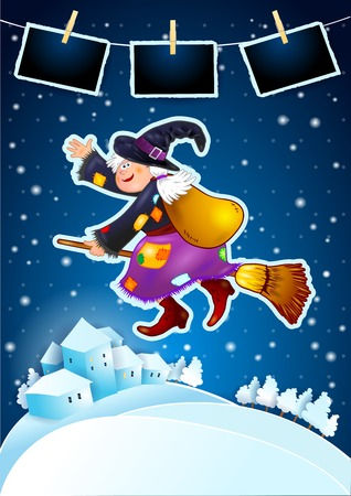 Old witch with snowy landscape and photo frames, vector illustration eps10 Illustration