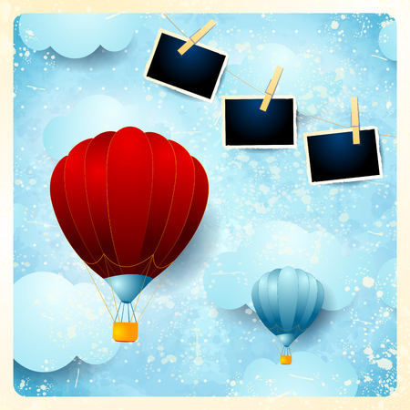 Vintage card with hot air balloons and photo frames. Vector illustration eps10 Ilustração