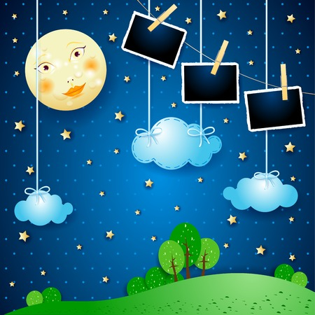 Surreal night with moon and photo frames. Vector illustration eps10