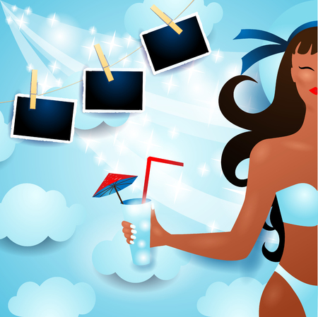 Attractive girl on the beach and photo frames on sky background. Vector illustration eps10