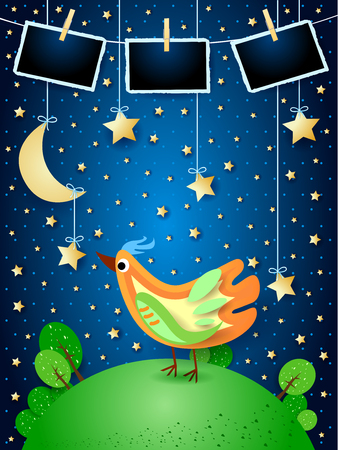 Surreal night with hanging stars, colorful bird and photo frames. Vector illustration eps10