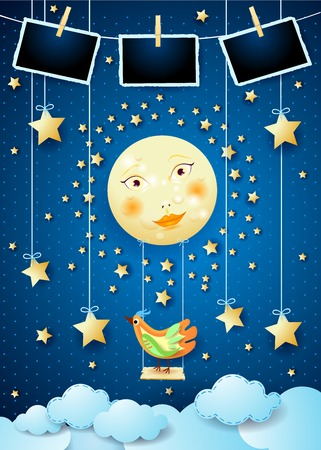 Surreal night with moon, swing, bird and photo frames. Vector illustration eps10