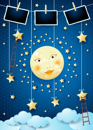 Surreal night with full moon, ladders and photo frames. Vector illustration eps10