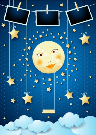 Surreal night with full moon, swing and photo frames. Vector illustration eps10