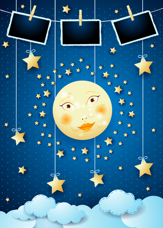 Surreal night with moon, hanging stars and photo frames. Vector illustration eps10 Illustration
