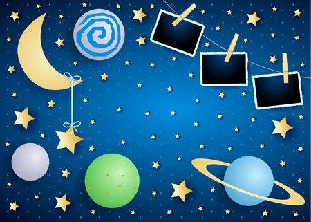 Sky by night with moon, planets and photo frames. Vector illustration eps10