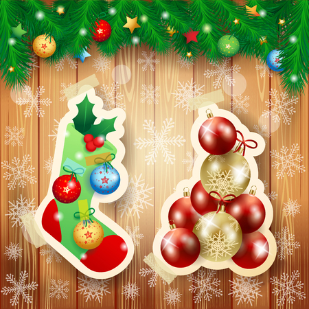 Christmas illustration with sock and baubles on wooden background. Vector illustration eps10 일러스트