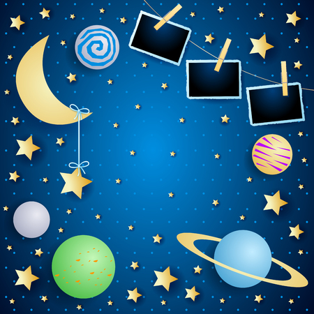 Sky with moon, planets and photo frames, vector illustration eps10