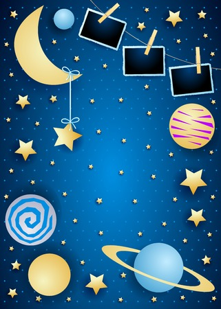 Sky with moon, planets and photo frames. Vector illustration eps10