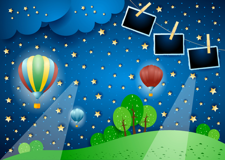 Surreal landscape by night with balloons and photo frames. Vector illustration eps10
