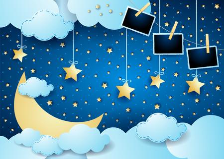 Noche surrealista con luna, nubes, estrellas colgantes y marcos de fotos. ilustración vectorial eps10