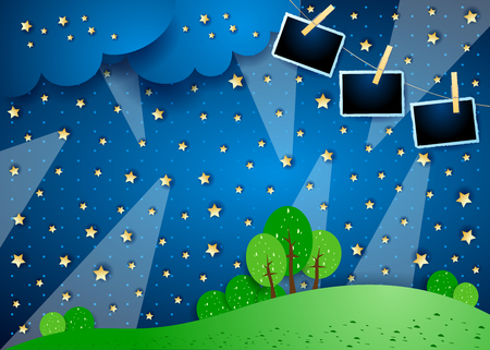 Surreal night with spotlights and photo frames, vector illustration eps10