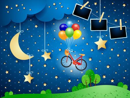 Surreal night with bike, hanging moon and photo frames. Vector illustration eps10