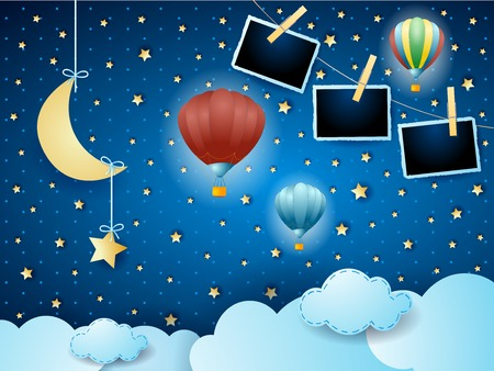 Surreal night with hanging moon, balloons and photo frames. Vector illustration eps10