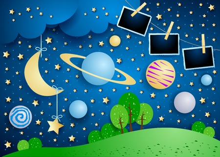 Surreal sky with planet, hanging moon and photo frames. Vector illustration eps10 Illusztráció