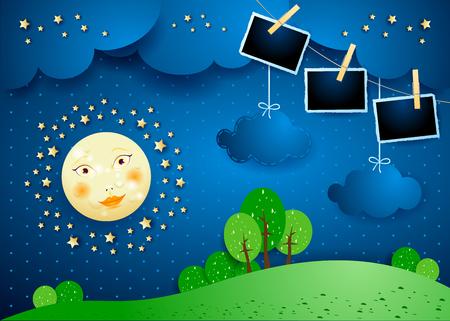 Noche surrealista con luna, nubes colgantes y marcos de fotos. Ilustración vectorial eps10