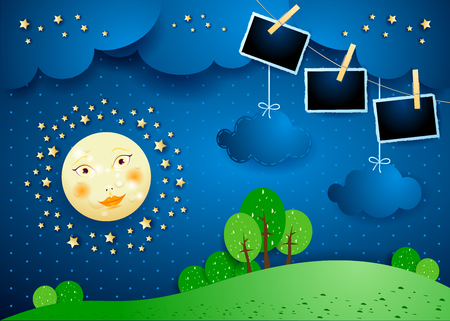 Surreal night with moon, hanging clouds and photo frames. Vector illustration eps10