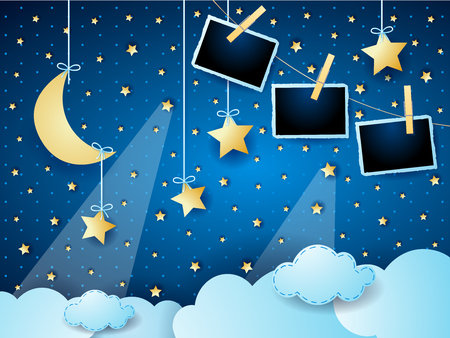 Surreal cloudscape by night with hanging moon, stars and photo frames. Vector illustration eps10