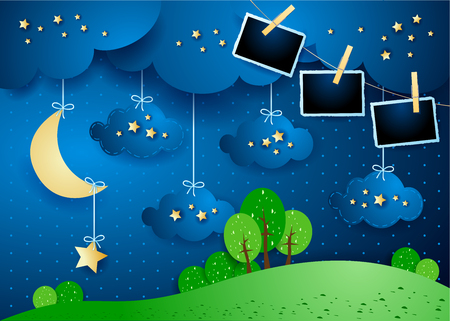 Surreal night with hanging clouds, moon and photo frames. Vector illustration eps10