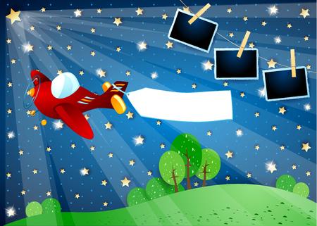 Noche surrealista con estrella, avión con banner y marcos de fotos. Ilustración vectorial eps10