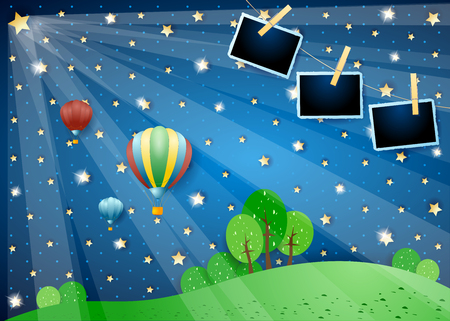 Surreal night with lights, balloons and photo frames. Vector illustration eps10