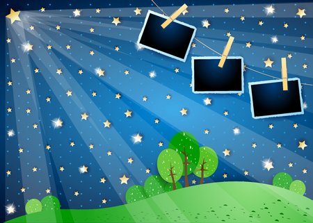 Surreal night with stars, spotlights and photo frames. Vector illustration eps10