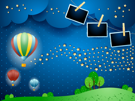 Surreal night with balloons, wave of stars and photo frames. Vector illustration eps10 Ilustração