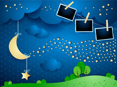 Surreal night with hanging moon, wave of stars and photo frames. Vector illustration eps10